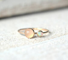 925 SILVER ROSE GOLD VERMEIL ROSE QUARTZ OPAL JEWELRY CHRISTMAS WOMENS FINE RING