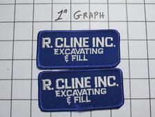 """Pair Vintage Company Logo Patches - """"R Cline Inc"""" Lakeland FL - NOS Mint"""