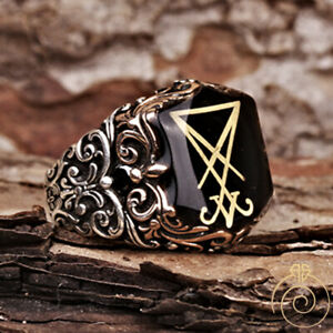 Sigil Of Lucifer Baphomet Signet Ring Devil Seal Of Satan Jewelry Hexagram Gift
