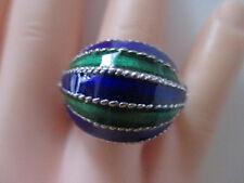 SILBER DESIGN RING ° 925 ° Grün - blau Emaille ° Silberschmuck ° Meistermarke °