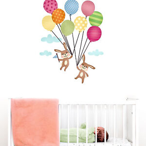 Bunnies with balloons wall sticker   Nursery wall stickers   Perfect above a cot