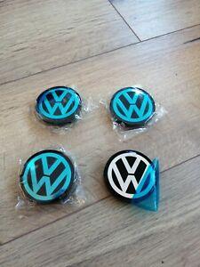 4x Centre Roue Cache Moyeu Volkswagen 55mm Noir Argenté Neuf
