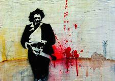 Incorniciato Banksy Stile di stampa-Texas Chainsaw Massacre in Pelle Viso Horror Picture