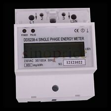 AC 230V 100A LCD DIN-rail Single Phase Kilowatt Hour kWh Electric Energy Meter