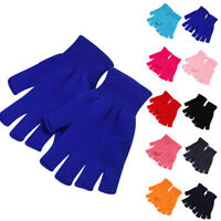 Unisex Men Women Winter Warm Fingerless Half Finger Knitted Gloves Mittens US