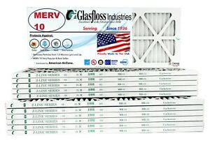 Glasfloss 10x30x1 - MERV 10 - (Qty:12) - Pleated  Air Furnace Filter Made in USA
