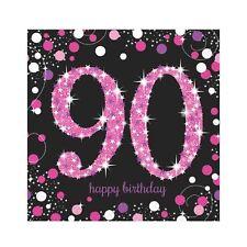 16 x Pink Celebration Age 90 Napkins Pink & Black 90th Birthday Napkins FREE P&P