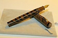 Hand Made Ebonite  Fountain Pens Med Nib Extra Large Marble Brown Finish