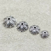 4pcs of 925 Sterling Silver Oxidized Flower Bead Caps Spacers 8mm 10mm 12mm 14mm