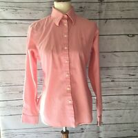 Lilly Pulitzer Sz 8 Pink Long Sleeve Cotton Button Front Top Shirt