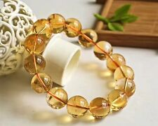 15mm Natural Yellow Citrine Quartz Crystal Round Beads Bracelet