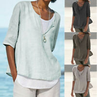 Women's Loose Linen Modern Button V-Neck Plus Size Solid Shirt Blouse Tunic Tops
