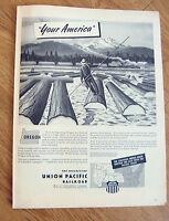 1945 Union Pacific Railroad Ad  Your America  Oregon