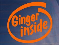 'GINGER INSIDE' Orange Funny/Joke Car/Van/Bike/Bumper/Window Vinyl Decal/Sticker