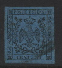 ITALY MODENA 1852 1st PRINT 40c 4 MARGIN FINE USED