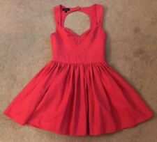 Topshop Low Back Dress Pink Coral Uk Size 8 Trendy Cute
