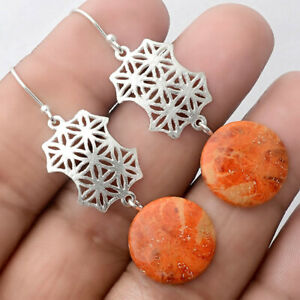 Natural Sponge Coral 925 Sterling Silver Earrings Jewelry 0890