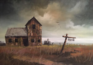 Vintage HECTOR SALAS Barn And Field Original Oil Painting Framed Haunting