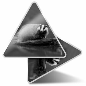2 x Triangle Stickers  7.5cm - BW - Wild Badger Animal  #36631