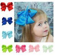 5 INCH BIG BOWS BOUTIQUE HAIR CLIP PIN ALLIGATOR CLIPS GROSGRAIN RIBBON BOW GIRL