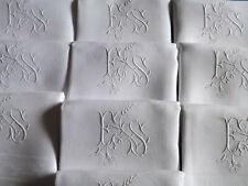 10 belles  serviettes de table, fil de lin, mono E S, anciennes