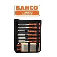 Bahco Chisel Set 424P - 6 Woodwork Wood Chisels, Sharpening Stone & Guide, Barco