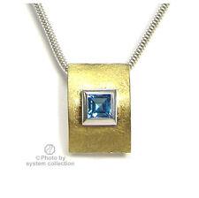 925 Colgante Plata con 900 Oro y Topacio Azul