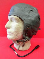 US AIR FORCE TYPE A-13 LEATHER FLYING HELMET W/RECEIVERS & CORD