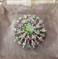 Rare Vintage Aurora Borealis Silver Tone Circle Brooch Gift Costume Jewellery