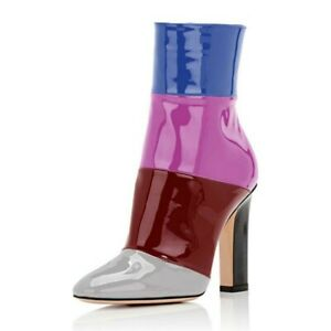 New Women Ankle Boots Patent Leather Chunky High Heels Booties Custom-made Shoes