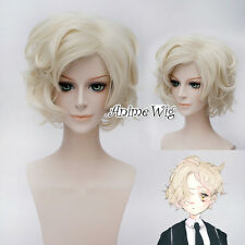 30CM Touken Ranbu Gokotai Light Blonde Short Curly Cosplay Anime Wig + Wig Cap