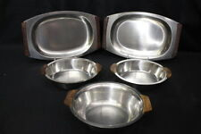 Mixed Lot Vintage Mid Century Stainless Bowls and Trays with Teak Handles