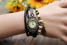 Fashion Womens Bracelet Watch Analog Quartz Leather Leaf Beads Wrist Watch