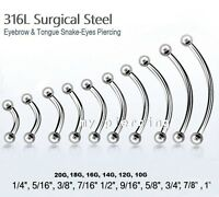 20g 18g 16g 14g 12g 10g Steel Curved Eyebrow Barbell Tongue Snake-Eyes Piercing