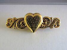 Vintage 1928 Jewelry Gold Tone Heart Locket Bar Brooch Pin