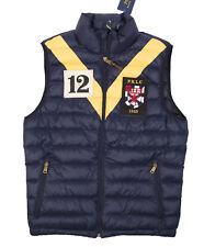 Polo Ralph Lauren Men's Small Navy/Yellow Contrast Stripes Packable Down Vest