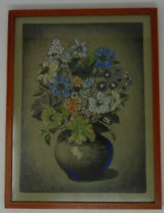 Blue Flowers in a Pot Pastel Painting - Framed in Simple Wood
