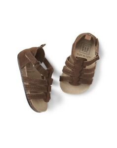 Gap Baby Boy Double Strap Cork Sandals Shoes Suede Brown Size 0-3 Months NWT