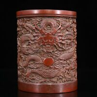 Noble Chinese old Hand-carved Vivid dragon statue bamboo Brush pot pencil vase
