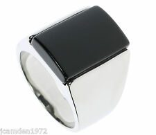 Black Onyx Smooth Stainless Steel Men's Ring Size 10