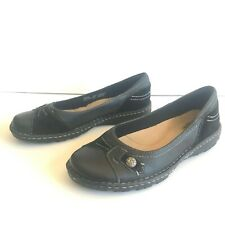 Earth Spirit Flats Black Leather Slip On Shoes Suede Women's Size 11