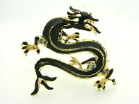 Black Enamel Clear Rhinestone Gold Tone Dragon Pin Brooch Vintage