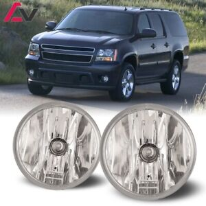 For Chevy Suburban 07-14 Clear Lens Pair Round Fog Light Lamp Replacement