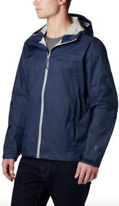 Columbia Mens EvaPOURation Jacket size BIG 3X Hooded Raincoat Collegiate Navy