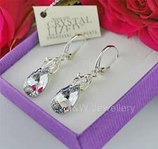 925 STERLING SILVER EARRINGS CRYSTALS FROM SWAROVSKI® PEAR/ALMOND CRYSTAL CAL