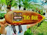 "Handcarved & painted wood tropical style ""Tiki Bar"" with flames 20"" surfboard!"