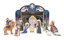 Melissa & Doug 12 Pc Wooden NATIVITY Set Stable Mary Jesus Joseph Sheep