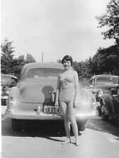 Vtg 1950's B&W PIN-UP Sexy Girl In Bathingsuit Howell Michigan Oldsmobile PHOTO