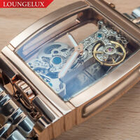 NEW Mens Classic Flywheel Stainless Band Luxury Bling Skeleton Mechanical Watch