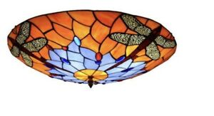 Tiffany Style Dragonfly Pendant Stained Glass Light Ceiling Lamp